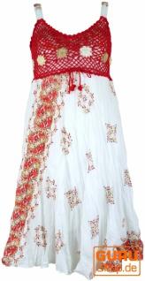 Boho Minikleid, Sommerkleid, Krinkelkleid - weiß/rot/orange