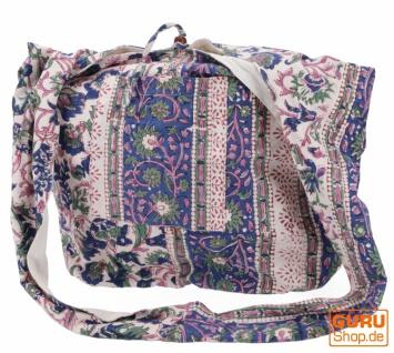 Sadhu Bag, Umhängetasche, Blockdruck Hippie Schultertasche - weiß/blau/rosa