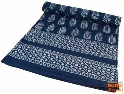 Blockdruck Tagesdecke, Bett & Sofaüberwurf, handgearbeiteter Wandbehang, Wandtuch - indigo Federn