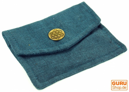 Schlichter Tabakbeutel, Tabaktasche, Drehtasche `Blume des Lebens` - blau