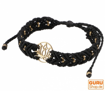 Goa Armband, Makramee, Festival Armband - Lotus/schwarz Modell 20