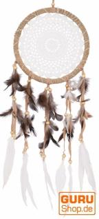 Traumfänger mit gehäkelter Spitze - weiß 22 cm