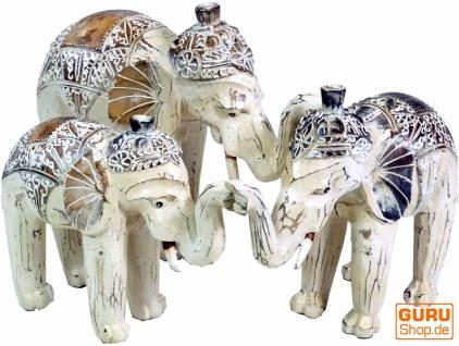 Geschnitzter Elefant in 3 Größen - weiß