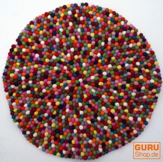 Runder Filzteppich, Bodenmatte aus kleinen Filz Kugeln - Ø 80 cm