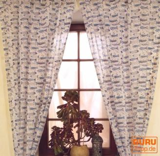 Boho Vorhänge, Gardine (1 Paar ) mit Schlaufen, leicht transparenter handbedruckter ethno Style Vorhang - Muster 6