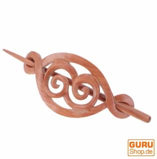 Ethno Holz Haarspange mit Stab, Boho Haarschmuck - Spirale