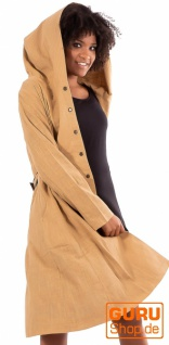 Kurzmantel mit Kapuze/Shortcoat aus Bio-Baumwolle / Chapati Design - beige