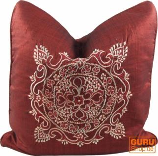Bestickte Kissenhülle, Kissenbezug - Mandala Bali rot