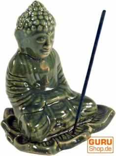 Räucherstäbchenhalter Buddha aus Keramik grün - Modell 22