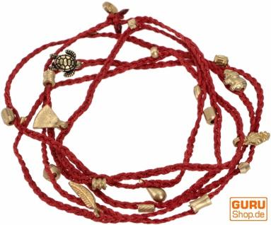 Makrameee Kette, verwandelbare Boho Kette, Armband - rot