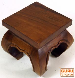 Mini Opiumtisch, Blumenbank aus Massivholz - braun 20*20 cm - Vorschau 3