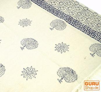 Hangewebter Blockdruck Teppich aus natur Baumwolle mit traditionellem Design - weiß/blau Muster 3