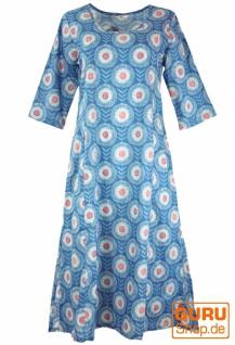 Indisches Boho Tunikakleid, langes Sommerkleid - blau
