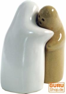 Keramik Pfeffer- und Salzstreuer `Lovers`- mustard/weiß