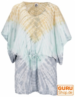 Batiktunika mit Gürtelband, Maxitunika, Strandkleid, Übergröße - grau/grün/beige