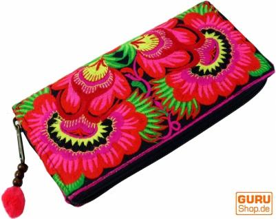 Besticktes Ethno Portemonnaie Chiang Mai, Boho Geldbeutel - pink/schwarz