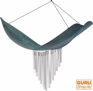 Aluminium Klangspiel, exotisches Windspiel - Palmenblatt türkis