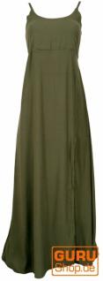Sommerkleid, Boho Maxikleid mit Schlitz - olivegrün