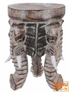 Blumenhocker, Dreibeiniger Beistelltisch, Dekoobjekt Elefanten Kopf - dunkel 30 cm