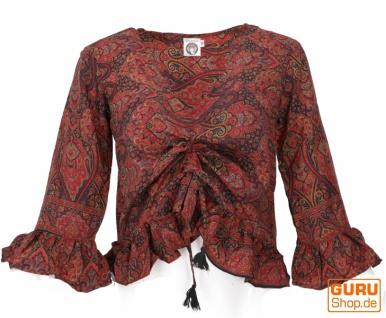 Blusentop Boho chic, seidige Hippie Bluse mit langen Armen - rot/schwarz