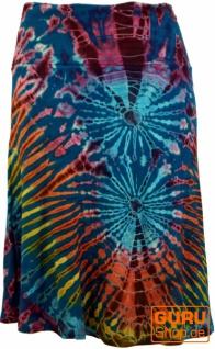 Batik Hippie Midirock, Sommerrock, knielang - dunkelblau/bunt