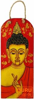 Handgemaltes Buddha Wandbild auf Holz - rot