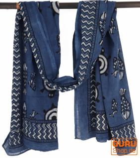 Leichter Pareo, Sarong, handbedrucktes Baumwolltuch - blau Kombination 9