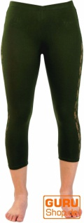 3/4 Psytrance, Goa Damen Leggings, Festival Party Hose mit Spitze - olive 2