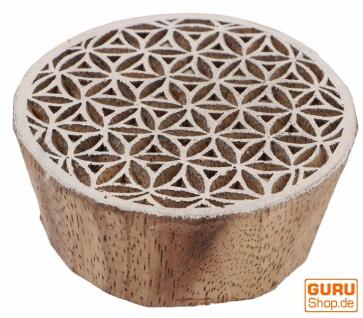 Indischer Textilstempel, Holz Stoffdruckstempel, Blaudruck Stempel, Druck Modell - Ø 6 cm Blume des Lebens 1