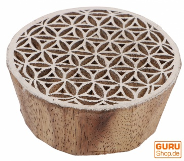 Indischer Textilstempel, Stoffdruckstempel, Blaudruck Stempel, Holz Model - Ø 6 cm Blume des Lebens 1