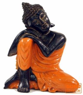 Geschnitzte sitzender Buddha Figur, träumender Buddha - orange/links
