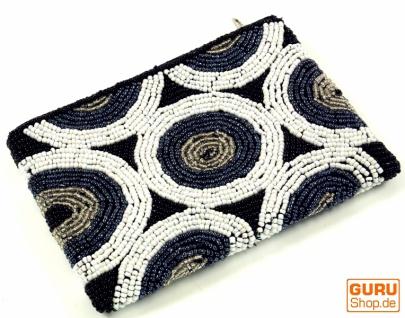 Perlen Portemonnaie, Kosmetiktasche mit Perlenverzierungen - schwarz