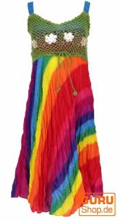 Boho Minikleid, Sommerkleid, Krinkelkleid - regenbogen/grün