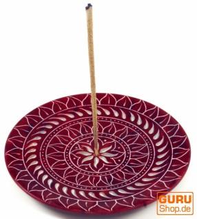 Indischer Räucherstäbchenhalter aus Speckstein, Kerzenteller - Sonnen Mandala rot