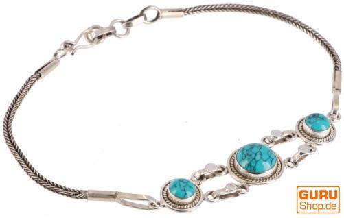 Boho Silber Armkettchen, indisches Silberarmband - Türkis