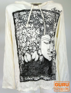 Sure Langarmshirt, Kapuzenshirt Mantra Buddha - weiß