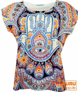 Psytrance T-Shirt, Yoga T-Shirt, Retro T-Shirt - Fatimas Hand