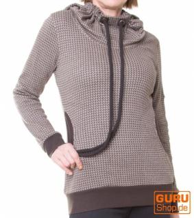 Pullover aus Bio-Baumwolle mit Kapuze / Chapati Design - beige/choco
