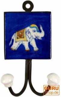 Doppelwandhaken, Garderobenhaken mit handgefertigter Keramik Fliese - Modell 2