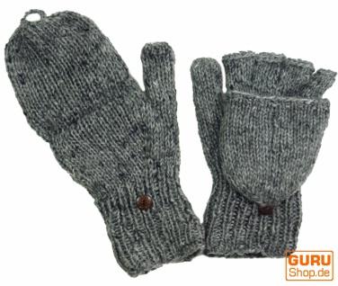 Handschuhe, Klapphandschuhe, uni, extra groß - grau