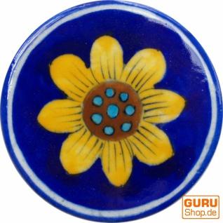 Runder handbemalter Keramikuntersetzer für Gläser - Motiv 1