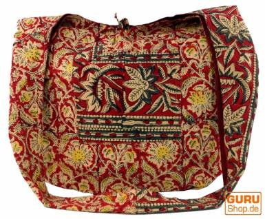 Sadhu Bag, Umhängetasche, Blockdruck Hippie Schultertasche - rot/beige