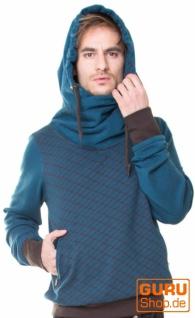 Pullover mit Kapuze aus Bio-Baumwolle / Chapati Design - petrol/choco