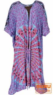 Leichter Sommer Kimono, Umhang, Strandkleid mit Mandala Muster - türkis/pink/schwarz
