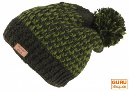 Beanie Mütze, Bommelmütze, Wollmütze aus Nepal - olivgrün/lemon - Vorschau 2