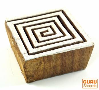 Indischer Textilstempel, Stoffdruckstempel, Blaudruck Stempel, Holz Model - 5*5 cm Spirale 6