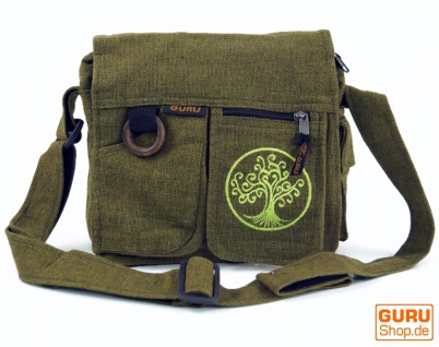 Ethno Schultertasche `Tree of life`- olive