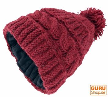 Beanie Mütze aus Schurwolle, Bommelmütze, Pudelmütze - bordeauxrot