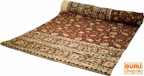 Blockdruck Tagesdecke, Bett & Sofaüberwurf, handgearbeiteter Wandbehang, Wandtuch - braun Ornament 5
