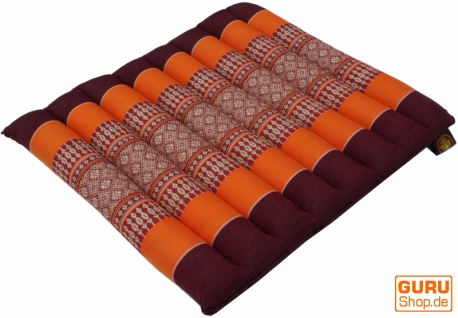 Thai Stuhlkissen, Bodenkissen, Sitzunterlage aus Kapok, 35*40 cm - dunkelrot/orange